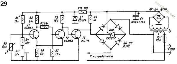 Схема терморегулятора [29] для